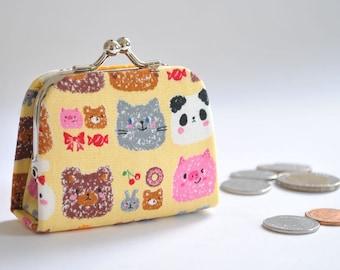 Cute Animals - Cute Tiny Kiss lock Coin Purse/Jewelry holder -  Korean fabric
