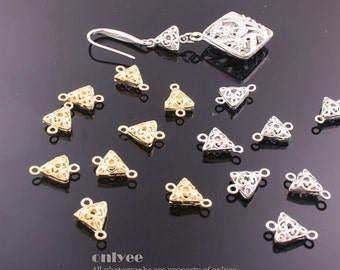 40pcs-11mmX7mmX2mmGold, Rhodium plated Romantic Small Filigree connector, pendants(K537)