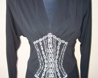 Vintage Anna Sui Black Dress 1980's Vintage s Black Bob Mackie