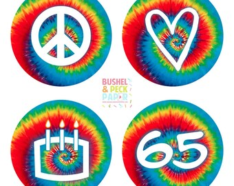 Peace Love & Birthday Cake Party #Stickers, Gift #Tags OR Cupcake #Toppers