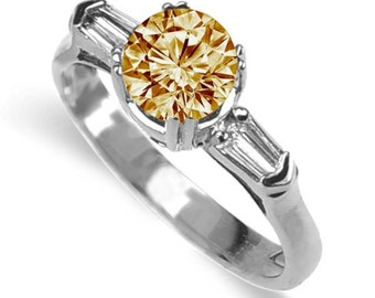champagne  diamond ring 18k white gold