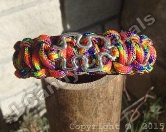 Autism Awareness Paracord Bracelet Silver Puzzle Piece Multi-Colored