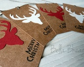 Cute, Stag, Deer Head, Christmas Gift Tags