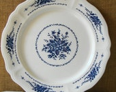 MID CENTURY IRONSTONE Large Serving Plate Entree Serving or Cake Plate Blue & White Mayhill Ironstone Japan Blue Cobalt Flowers Ironstone