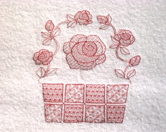 Rose Basket Embroidered Hand Towel