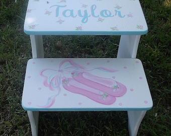 Custom Step Stool  Pink  Ballet Ballerina STEPSTOOL Bathroom Bench Kids Furniture  Decor Steps and Stools Bench