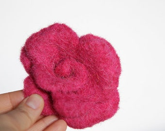 Felted Wool Flower Hair Band, Womens Hair Bank, Felted Pink Flower, Handmade Hand Dyed, For Her, Fashion Accessory, Childrens Gift, Birthday