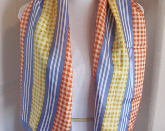 "Beautiful Blue Stripe Glentex Acetate Scarf - 13"" x 44"" Long  - Affordable Scarves!!!"