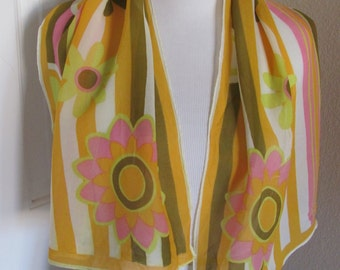 """SALE Beautiful Yellow Pink Vintage Soft Scarf - 14"""" x 42"""" Long"""