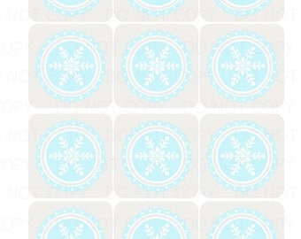 Printable DIY Frozen Winter Wonderland Snowflake Theme Cupcake Toppers