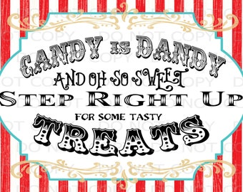 """Printable DIY Vintage Circus Candy Treat Table sign or Thank you card - 4""""x6"""" INSTANT DOWNLOAD"""