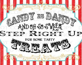 "Printable DIY Vintage Circus Candy Treat Table sign or Thank you card - 5""x7"" INSTANT DOWNLOAD"