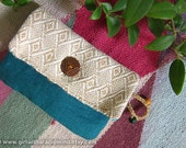 Purse in Burlap Jute and Blue Combination - Woodland Wallet For Cards, Mobile Phone