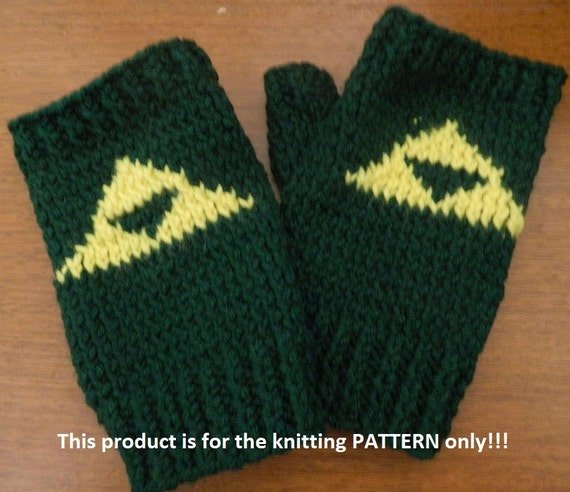 Legend Of Zelda Knitting Pattern : Knitting pattern legend of zelda triforce fingerless gloves