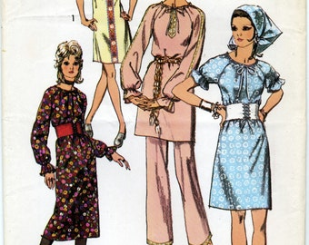 Vintage Misses' Dress in Two Lenghts, Pants, Belt and Scarf Sewing Pattern - Simplicity 9103  Size 10 - Bust 32 1/2 - Waist 24