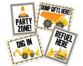Construction birthday party poster sign PRINTABLE - dig in, party zone, refuel here, dump gifts here, construction birthday party, shower