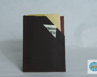 Minimalist Deep Maroon Leather Wallet - Reclaimed/Recycled Leather