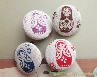 Fabric Covered Buttons (L) - Floral Matryoshka Russian Doll (4Pcs, 1.1 Inch)