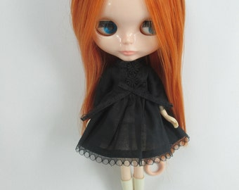 Handcrafted long sleeve dress outfit for Blythe doll 957-19