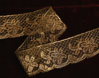 """1 yard Antique French gorgeous metal lace gold patina 1.5""""  wide trim patina  collar trim flapper 1900s 1920 edwardian millinery"""