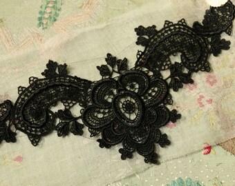 Antique French applique guipure roses cotton lace trim lovely bodice piece edwardian flapper dress trim intricate flower tulle schiffli