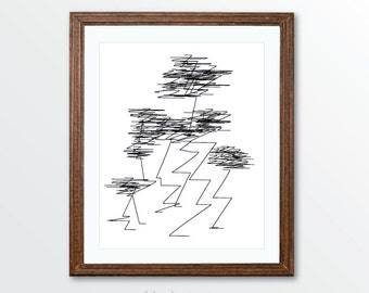 Minimalist Scribble Lines Art Print - Minimalist Black and White Pen and Ink Modern Art - Simple Modern Art