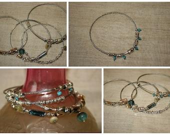 Stackable bangle, Handcrafted Bracelet ,Stainless Steel Bracelet,Stainless Steel  Bangle, Turquoise Bracelet,