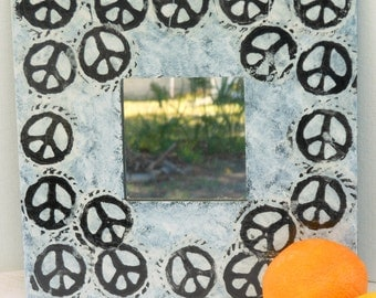Peace symbol mirror for wall reuse vegan friendly wide wood frame texture painted white with black hand printed collage