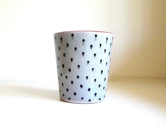 SALE! Ceramic Red Lipped Polka Dot Container/Vase/Planter