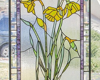 """Yellow Daffodils with Buds-- 20.5"""" x 35""""--Stained Glass Panel"""