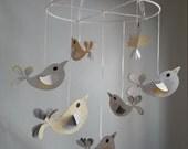 Yellow Grey Gray White Pretty Birds Baby Mobile Nursery Decor Bird Nursery Customize