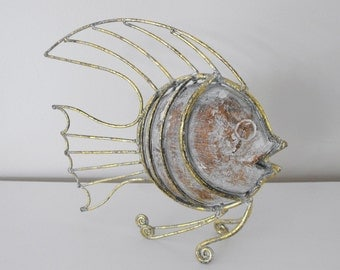 Vintage Handcarved Wood and Metal Fish - Beach Cottage Art Fish Decor - Hand Carved Fish Body with Metal Fins and Accents