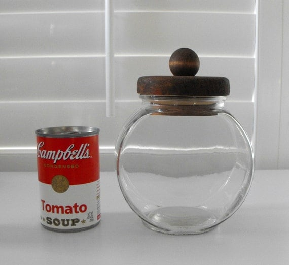 Vintage Clear Glass Canister With Wooden Lid Glass By Bobann23