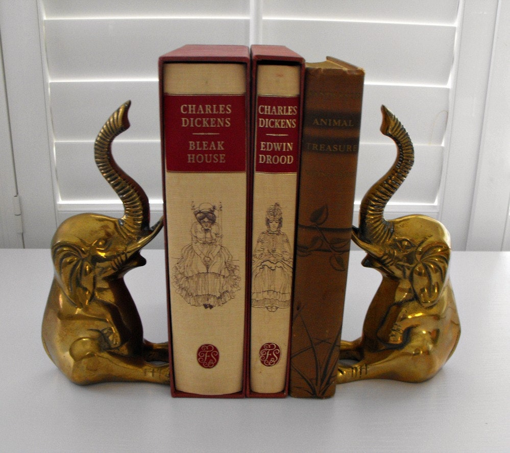 Vintage pair brass elephant bookends from decorative crafts for Decorative crafts inc brass