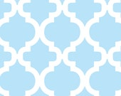 Blue and White Geometric Quatrefoil Flannel, 1 Yard