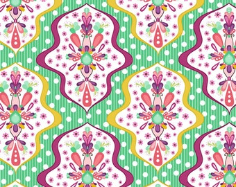 Green Coral Yellow and Purple Floral Damask, Floriography by Pink Fig Design for Riley Blake Designs, Damask Print in Green, 1 Yard