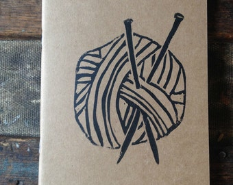 Medium Sized Block Printed Knitting Journal
