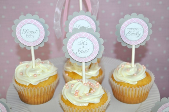 Decorating Baby Shower Cupcakes girls baby shower cupcake toppers - pink and gray - girl baby