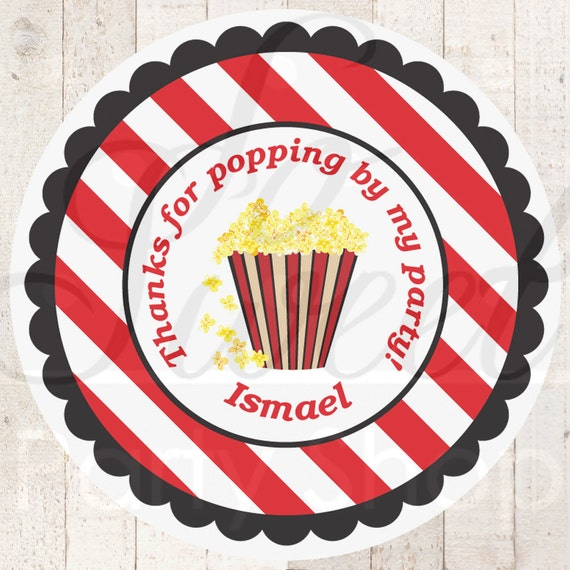 Movie Night Personalized Stickers Party Favor Tags Thank
