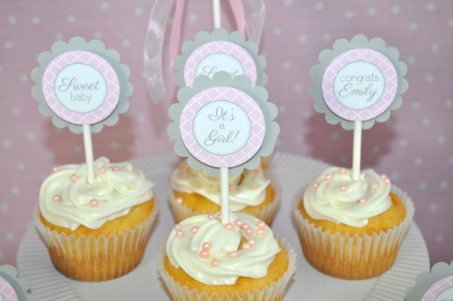 Girls Baby Shower Cupcake Toppers Pink and Gray Girl Baby
