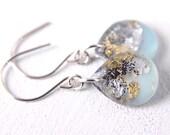 aqua blue earrings on sterling silver hooks, gold leaf earrings, drop earrings, aqua earrings, resin earrings