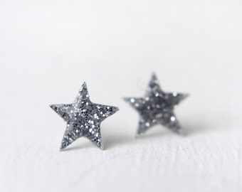tiny star post earrings on sterling silver posts, star post earring, tiny star earring, galaxy earring, glitter post earring, silver earring