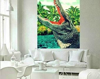 Alligator Art Print, Alligator Nursery Art Tropical beach art Retro Florida Gator photograph aqua color  kids room art  tropical decor