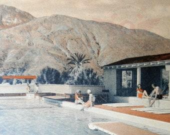 Modern Art Motel Print, Mid Century Gift, Mid Century Art, PALM SPRINGS Art Gift Vintage California Art Smoke Tree Ranch Swimming Pool Art