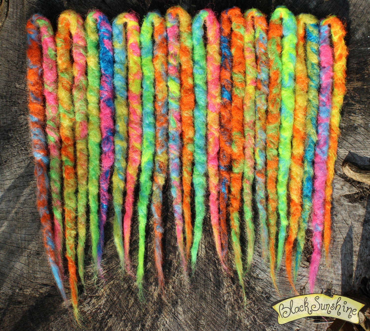 Neon Explosion Chunky Crochet Synthetic Dreads X12 DE Yellow