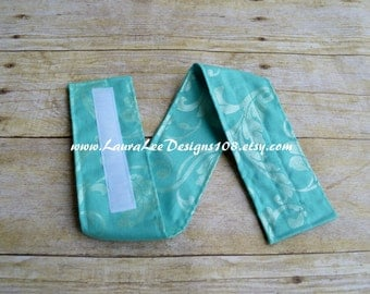 READY TO SHIP, Shimmery Turquoise Scroll Damask Diaper Strap, Diaper Bag Organizer, Diaper Holder, Nappy Strap, Diaper Bag Organizer, Strap