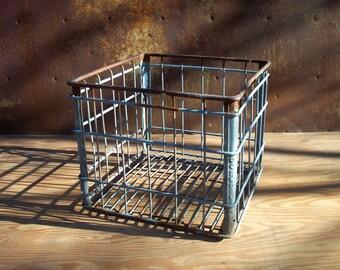Vintage Metal Milk Crate / Bordens / Storage Organization / Rusty Weathered Metal Crate
