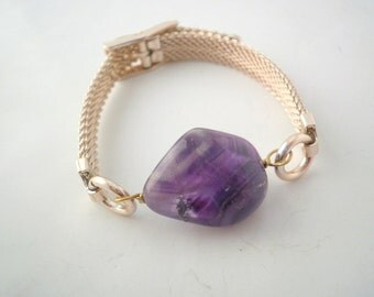 Chainmaille /Bracelet/ Amethyst/ Chunky Stone/ Purple