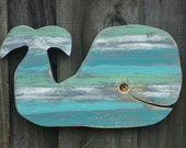 Weathered Whimsical Whale, Beach House Decor, Rustic Wall Hanging, Nautical Display