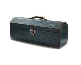 Vintage Union Steel Chest Plumber Pipefitter Steel Tombstone Tool Box Model No. 3119